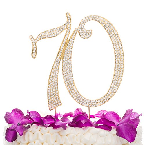 Ella Celebration 70 Cake Topper for 70th Birthday or Anniversary Party Gold Crystal Rhinestone Decoration (Gold) -