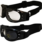 Two (2) Pairs Birdz Eagle Padded Motorcycle Goggles Airsoft Googles Comes with Clear, Super Dark Smoke, Day and Night riding comfort You Should Have Googles For Any Weather Condition