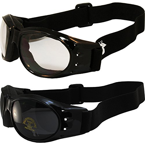 Two (2) Pairs Birdz Eagle Padded Motorcycle Goggles Airsoft Googles Comes with Clear, Super Dark Smoke, Day and Night riding comfort You Should Have Googles For Any Weather - Goggles Dark