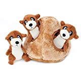 ZippyPaws Zoo Friends Burrow, Interactive Squeaky Hide and Seek Plush Dog Toy - Meerkat Den