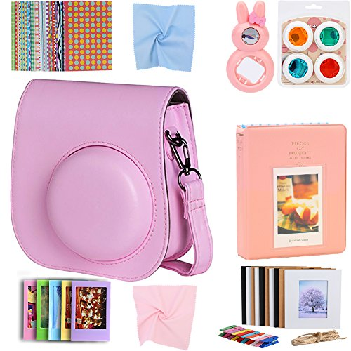 For Fujifilm Instax Mini 9 8 8+ Instant Film Camera Accessories Bundle, Case Pink/ Mini Album/ Rabbit Selfie Lens/ 4 Color Filters/ Hanging Frames/ Table Frame Set/ Stickers/ 3 Cloth. By SAIKA (Pink)