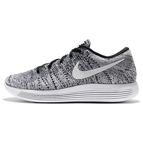 Nike Mens Lunarepic Low Flyknit, Nero / Bianco Grigio