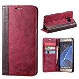 Galaxy S7 Edge Case, Lensun Genuine Leather Wallet Case Cover for Samsung Galaxy S7 Edge 5.5' - Wine Red (S7E-FG-WR)
