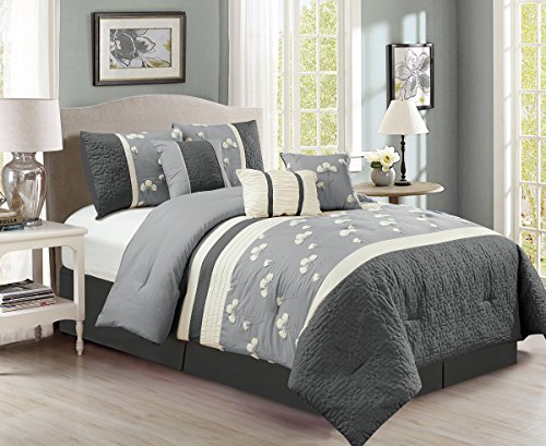 Chezmoi Collection Sophia 7-piece Chenille Poppy Flowers Pleated Embroidery Floral Bedding Comforter Set (King, Gray) (Oversized Bedding Sets)