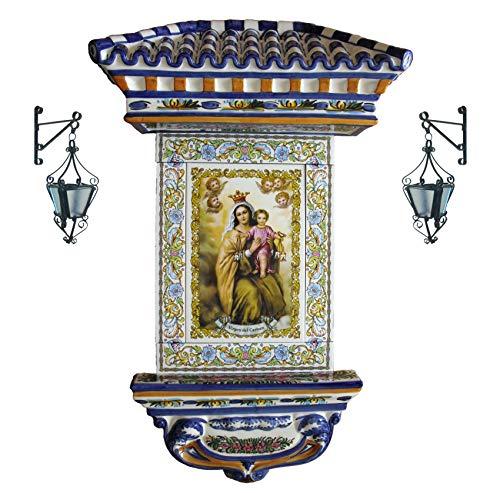 Rustiluz Azulejo de la Virgen del Carmen de cerámica con Cenefa, tejadillo Mediano y 2 farolillos.