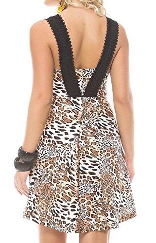 Animal Print A-Line Dress with Lace V-Neck