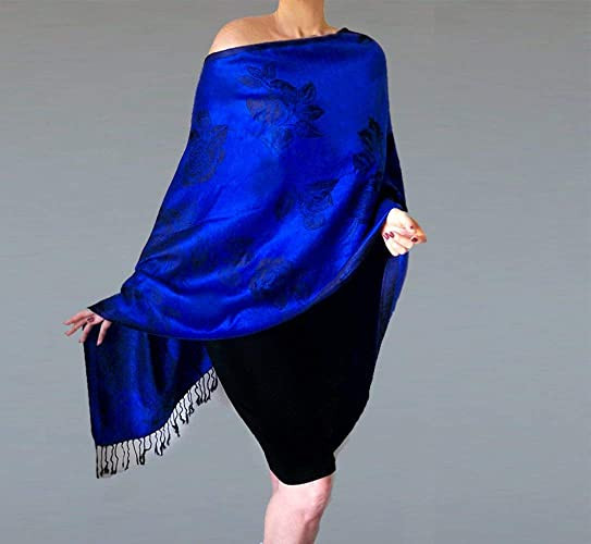 33059f6dd15 Amazon.com  Royal Blue Shawl Black Flower Wedding Wrap Evening Stole By  ZiiCi  Handmade