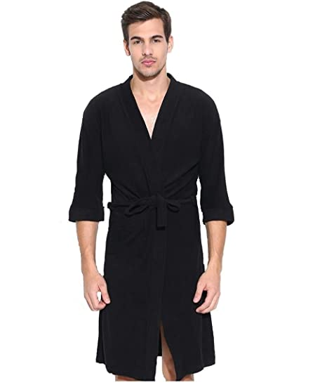 5945ba871b Buy Superior Men s Cotton Full Bathrobe (Black) Online at Low Prices in  India - Amazon.in