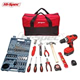 Hi-Spec 19.2 V Pro Combo Cordless Drill Driver with 1000 mAh Battery, 17 Position Keyless Clutch, Variable Speed Trigger, 47pc Drill, Screw & Hole Saw Set, 15pc DIY Hand Tools & Rugged Storage Bag