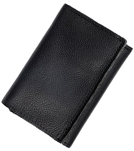 Mens Top Grain Leather Tri-Fold Wallet, 16 credit card slots,Made in USA,Black