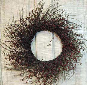 Pip Berry & Twig Wreath Burgundy Berries Country Primitive Floral Décor ()