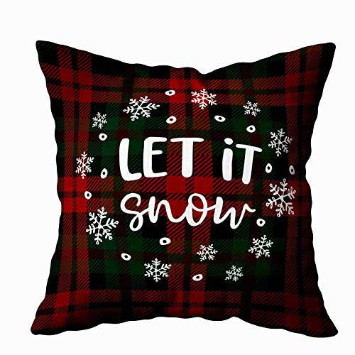 Shorping Body Pillow Case with Zipper, Zippered Pillowcases 20X20Inch Throw Pillow Covers Let Snow Christmas Greeting Card Invitation with Circle of Falling Snowflakes Lettered for Home Sofa Bedding (Snowflake Zippered Pillowcases)