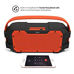 iLuv IMPACTL3ULOR Portable Water-Resistant Bluetooth Boom Box