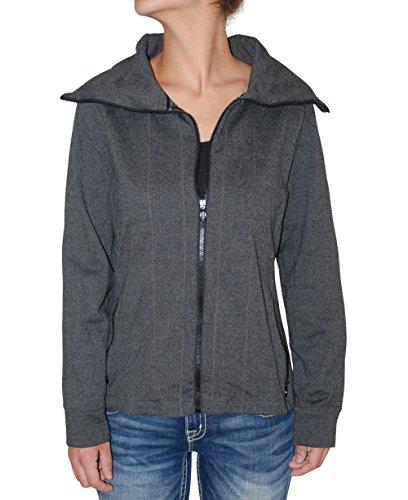 Ralph Lauren Active Women's Solid Full Zip Funnel Neck Jacket (Charcoal, L)