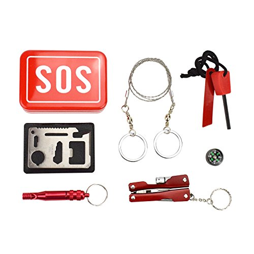 (Micnaron Emergency Kit/Survival Kit/First Aid Kits Tools Outdoor Emergency&Survival Kit Tool Gear Bundle,Multitool Pliers with Flashlight Wire Saw/Fire Starter/Compass/Emergency Whistle/Pocket Tool)