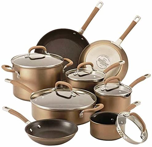 Circulon Premier Professional Nonstick 13-piece Cookware Set Richly Colored Bronze Exterior