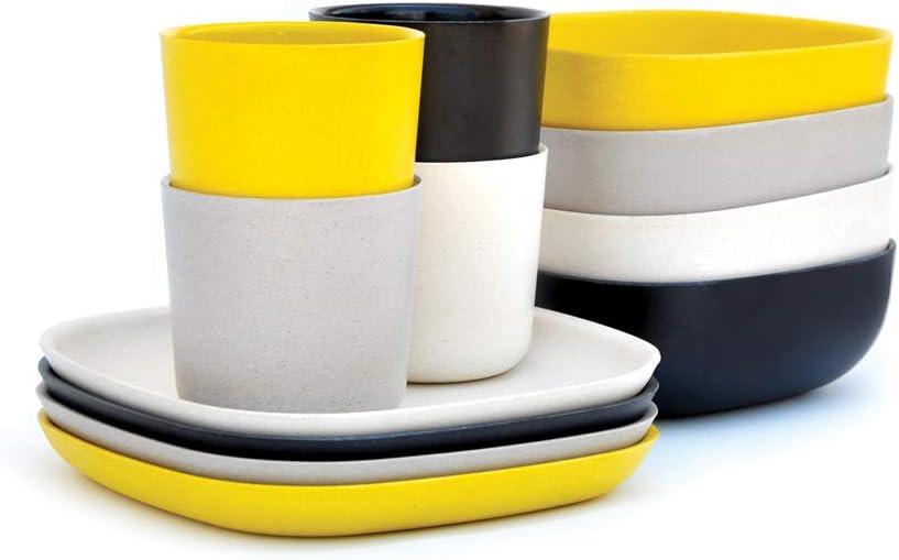 EKOBO Bamboo 12-piece Breakfast, Gift Box, BIOBU Eco-material, Indoor/Outdoor din Dinner Set, Black/Grey/White/Yellow