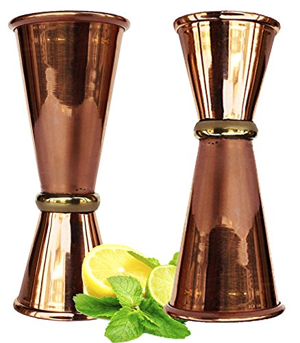Rastogi Handicrafts Double Jigger Cocktail Shot Glasses. 2 Mix Perfect Craft & Classic Drinks Excellent Set of 2