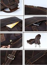Mens Brown Leather 17 Inch Laptop Briefcase Shoulder Bag Tote Vintage Messenger Bag (Dark Brown)
