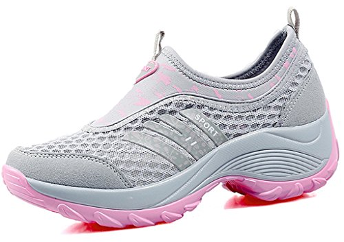 DADAWEN Women's Slip-On Platform Fitness Work Out Sneaker Gray US Size 6.5/Asia Size 38