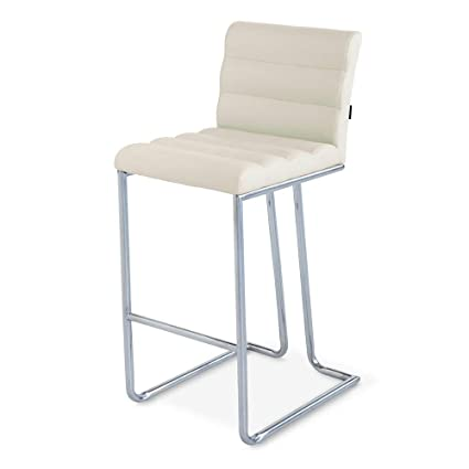 Pleasant Luna Counter Height Modern Bar Stool With Metal Base Cream Creativecarmelina Interior Chair Design Creativecarmelinacom