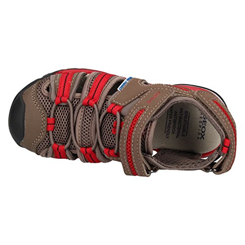 Geox Borealis C Brown/Red Durabuck Youth Fisherman Sandals Marrón