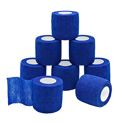 (GooGou Self Adherent Wrap Bandages Self Adhering Cohesive Tape Elastic Athletic Sports Tape for Sports Sprain Swelling and Soreness on Wrist and Ankle 8PCS 2 in X 14.7 ft (blue))