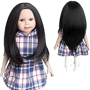 MUZI WIG 18 Inch Doll Hair Wigs Heat Resistant Long Straight Replacement Wigs for 18 Dolls DIY Making Supplies 18