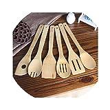 6pcs Eco-friendly Bamboo Wood Spatula Set Wooden Spatulas Kitchen Cooking Tools Utensil Set Bamboo Non-stick Pan Special Shovel