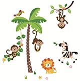 CherryCreek Decals Jungle Monkeys Giant Peel & Stick Wall Sticker Decal