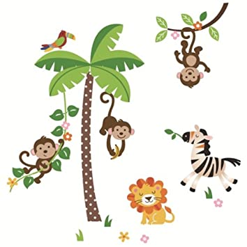 Amazoncom Giant Nursery Wall Decals Jungle Monkeys And Palm - Nursery wall decals jungle
