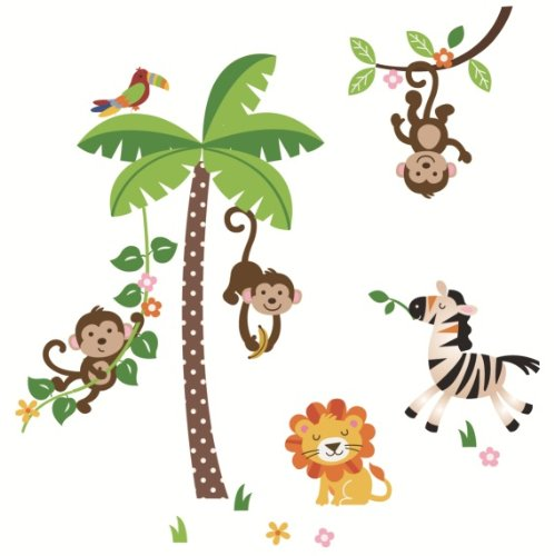 Giant Jungle Monkeys & Palm Tree Decorative Peel and Stick Wall Sticker Decals