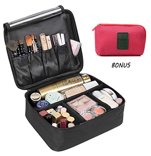 Cosmetic bag,DIMJ Travel Makeup Bag Train Case Makeup Portable Artist Storage Bag 10.3'' with Adjustable Dividers for Cosmetics Makeup Brushes Toiletry Jewelry Digital accessories-Black