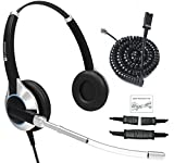 Deluxe Double Ear Headset With Noise Reduction Voice Tube and cable Compatible with Yealink T19 T20 T21 T22 T23 T26 T27 T28 T29 T32 T41 T38 T41 T42 T46 T48 T52 T54, Snom and Grandstream IP Phones