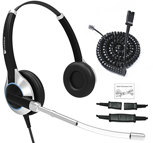 Deluxe Double Ear Headset with Noise Reduction Voice Tube and Adapter Compatible with Yealink T19 T20 T21 T22 T23 T26 T27 T28 T29 T32 T36 T38 T40 T41 T42 T46 T48 T52 T54, Snom and Grandstream Phones from TruVoice