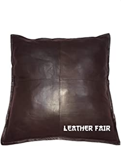 LEATHER FAIR Throw Pillow Leather Covers (with Border Piping) 20X20 inch, Brown Colour for Modern Boho Farmhouse Decor Large Square Decorative Bedroom Living Room Cushion Cases for Couch Bed Sofa