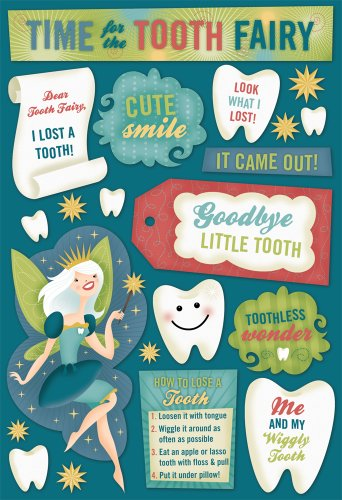 KAREN FOSTER Design Acid and Lignin Free Scrapbooking Sticker Sheet, Tooth Fairy Time