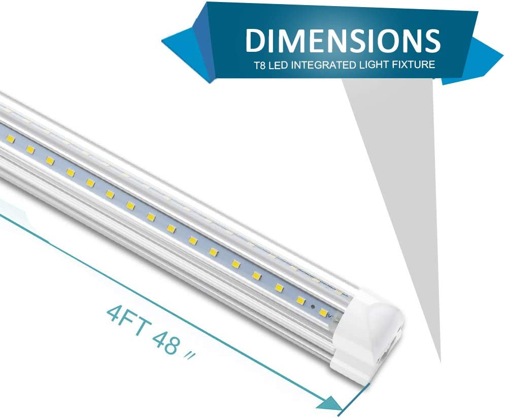 25 Pack T8 Integrated 4FT LED Tube Light 28W V-Shaped 6000K 3200LM Clear Lens