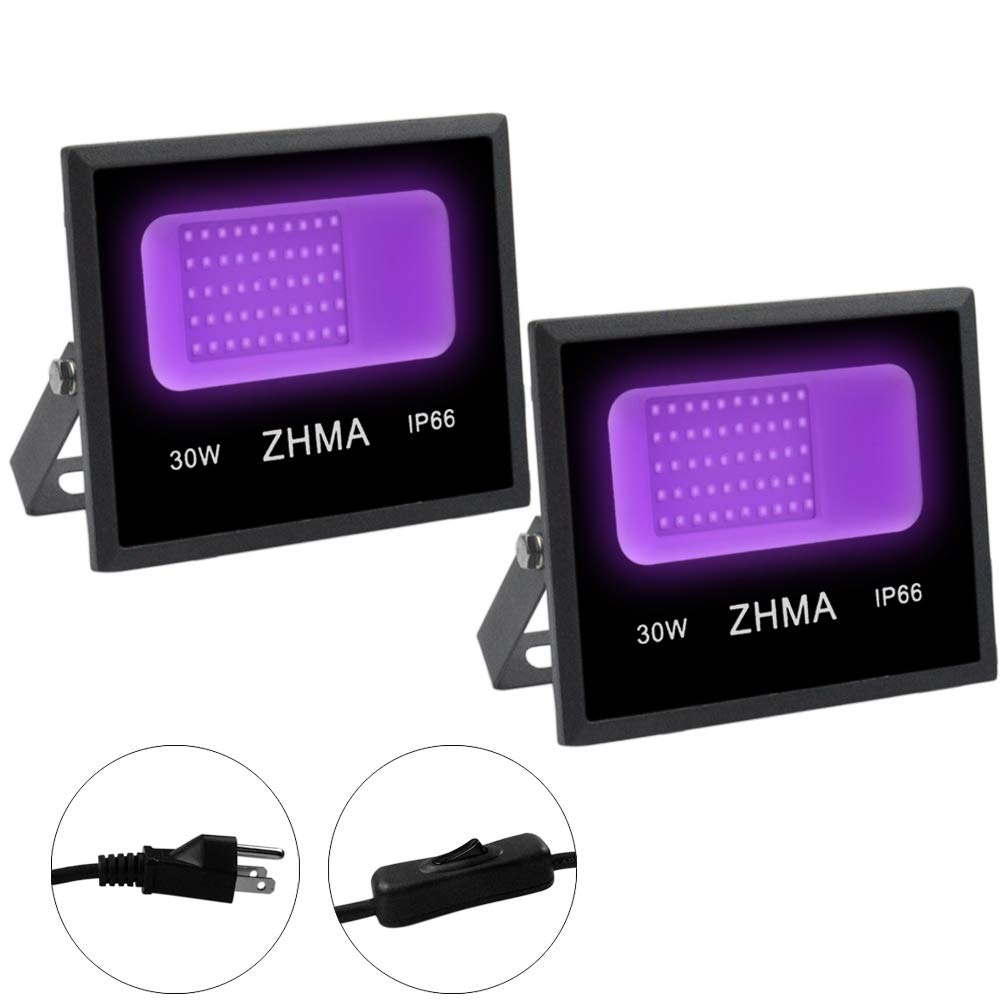 ZHMA UV Black Light Flood Light, 30W UV LED,Floodlight Outdoor IP66 Waterproof Stage Light for Blacklight Party,Outdoor Holiday Fluorescent Celebrations,Glow in The Dark Birthday Party Pack of 2