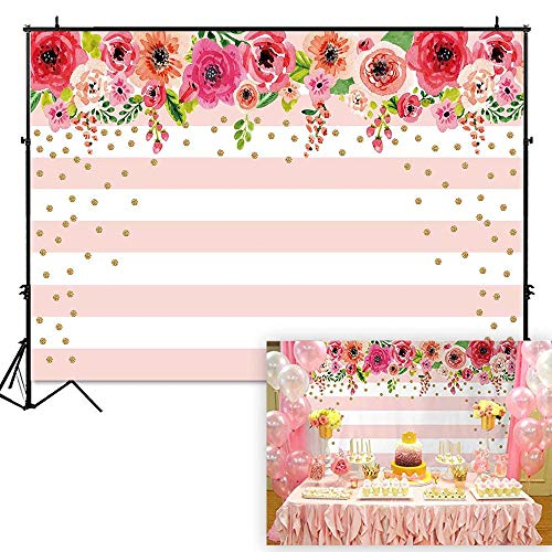 Funnytree 7X5ft Pink and White Stripes Flowers Party Backdrop Floral Rose Birthday Photo Background Gold Sprinkle Bridal Shower Sweet Table Banner Wedding Decorations for Photography -