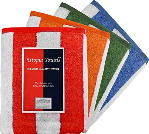 Utopia Towels Cabana Stripe Beach Towels (4 Pack, 30 x 60 Inches) - Large Pool Towels, Variety