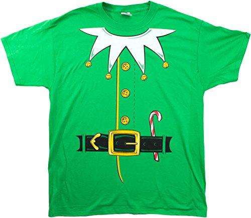 Santa's Elf Costume | Jumbo Print Novelty Christmas Holiday Humor Unisex (Elf Costume T Shirt)