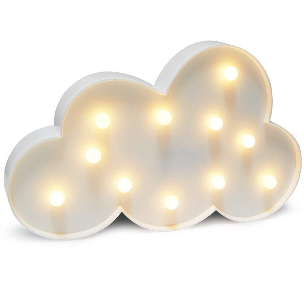 WHATOOK 3D Cloud Lamp Marquee Sign Night Light Battery Operated,Children's Bedroom Home Decorate Nursery Lamp - 11 LED Warm White Wall Lamp Kids' Room Decro