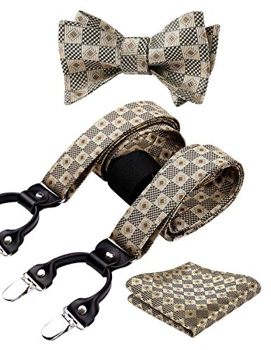 HISDERN Check Dots 6 Clips Suspenders & Bow Tie and Pocket Square Set Y Shape Adjustable Braces from HISDERN