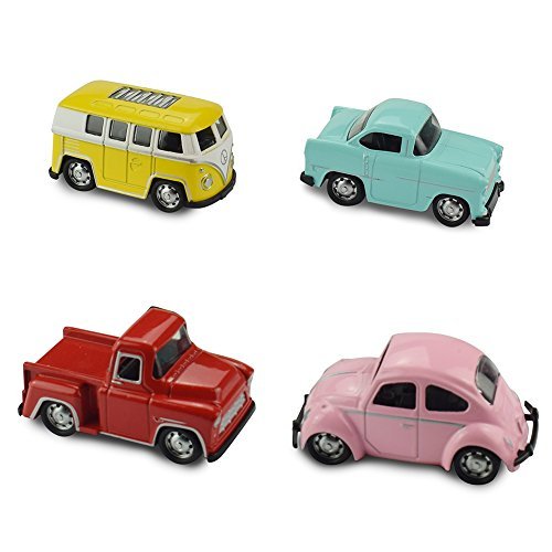 Jellydog Toy Pull Back Vehicles, 4 Pack Exquisite Metal Vehicles Set, Alloy Die-cast Mini Car Play Set, Pull Back Cars With Bus,Beetle,Pickup,Car ,Toy Car for Toddler