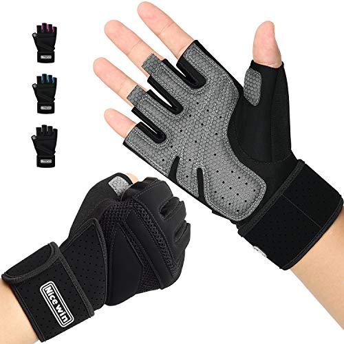 (NICEWIN Unisex Padded Weight Lifting Gloves Work Gloves with Wrist Support for Fitness Exercise Gym Outdoor Black L )