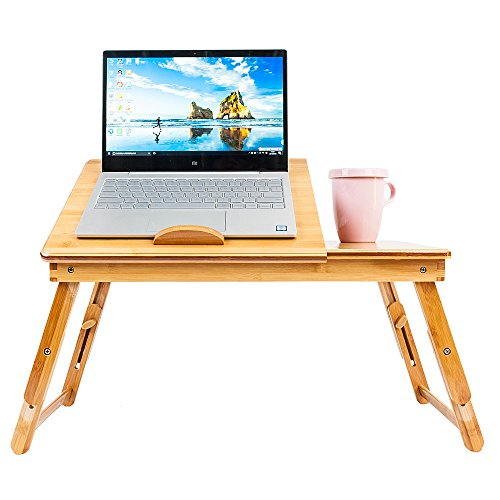 - Folding Lap Desk with Drawer,Bamboo Display Stand Multi-Function Serving Tables Folding Bed Breakfast Tray Home Office with Smartphone Docking Slot for Dormitory Writing Reading