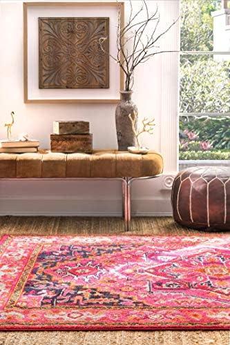nuLOOM Mackenzie Vintage Square Rug, 7 10 Square, Violet Pink