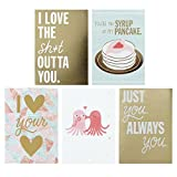 Hallmark Studio Ink Valentine's Day Greeting Card Assortment (5 Cards/Designs, 5 Envelopes, Gold and Pastels)