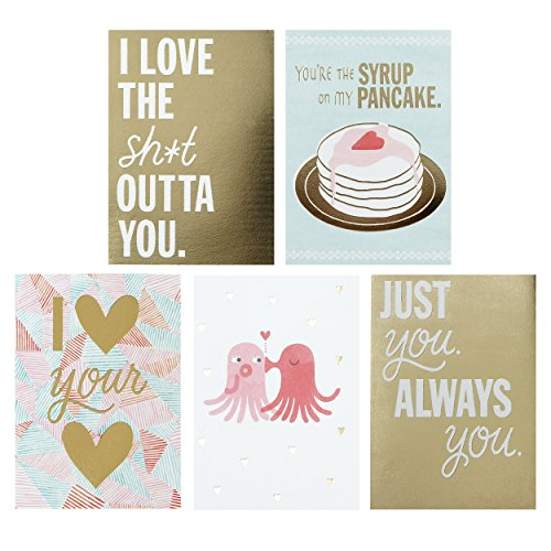 Hallmark Studio Ink Valentine's Day Greeting Card Assortment (5 Cards/Designs, 5 Envelopes, Gold and Pastels)